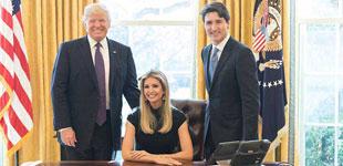 伊万卡在出席了美国总统特朗普与加拿大总理贾斯汀・特鲁多在白宫举行的会晤后,www.ort168.com发布了一张自己坐在总统专座上的照片,其父特朗普和加拿大总理特鲁多站在两侧。该图片在网络上引发了狂风暴雨般的争论。
