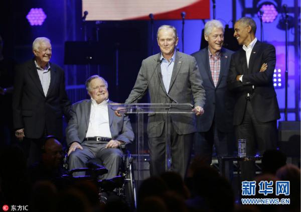 美国5位前总统罕见同台出席德州音乐会 为飓风灾民筹款