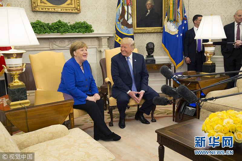 美国总统特朗普会见德国总理默克尔